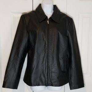NWOT NY & Co Black Zip Leather Jacket Sz L